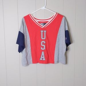 Champion USA Colorblock Cropped Tee